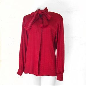 Gloria Sachs NY VTG Red Satin Pussy Bow Blouse 6
